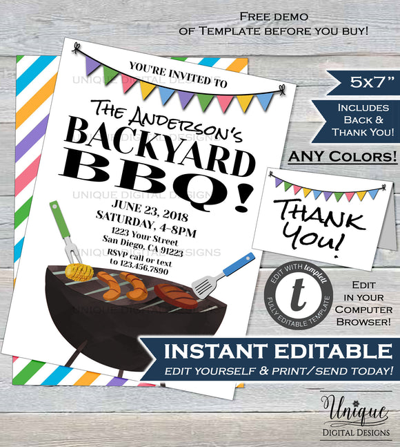 Backyard BBQ Invitation Neighborhood Summer Yard Grill Out Block Party Barbeque Street Party Printable Personalized INSTANT EDITABLE 5x7