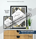 Tropical Baby Shower Welcome Sign Editable Neurtal Baby Shower Decor Gold Fern Baby Board diy Printable Template INSTANT DOWNLOAD 16x20 8x10