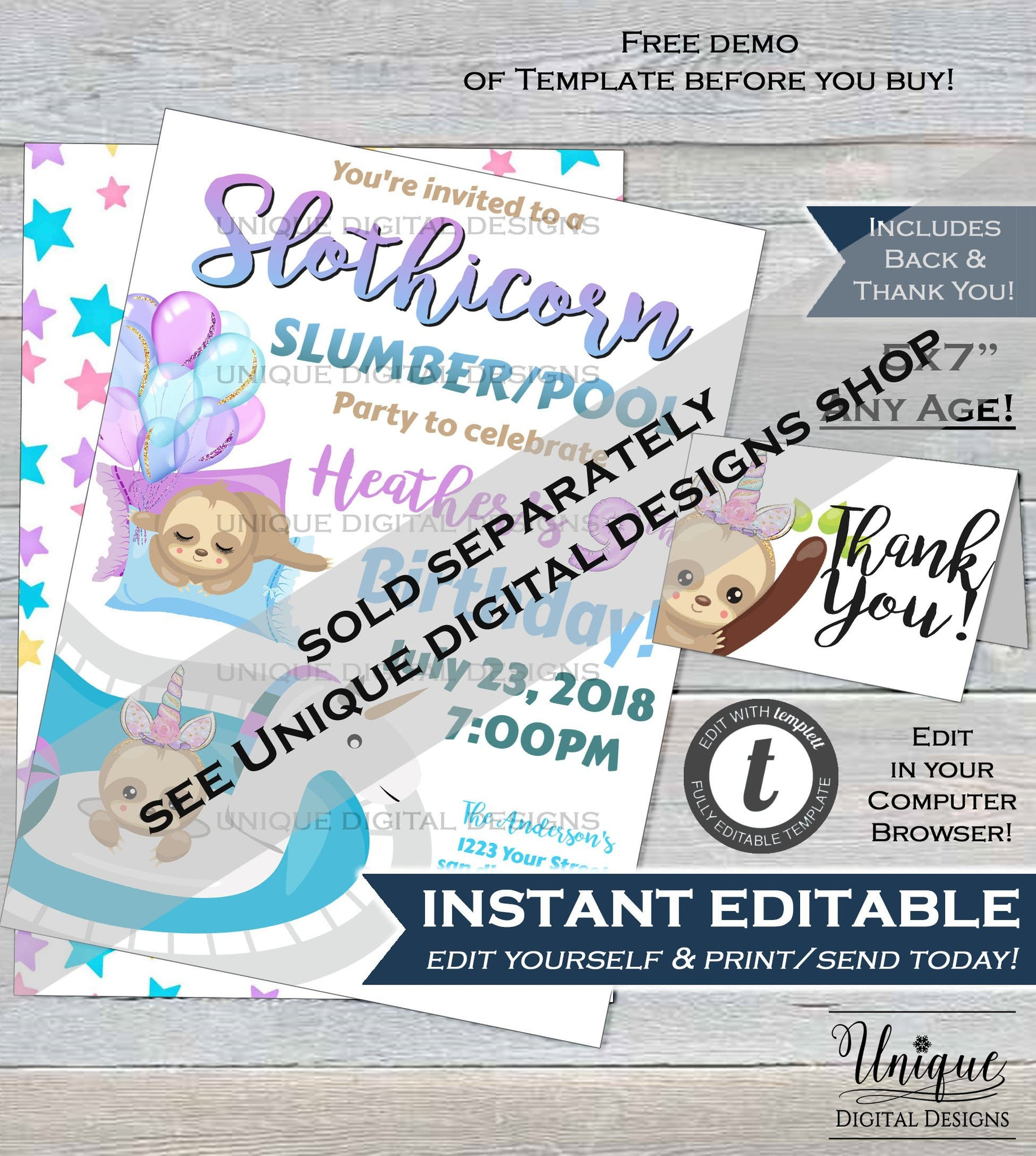 Sloth Slumber Party Invitation, Editable Sloth Sleepover Invite, Sloth