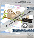 Sloth Baby Shower Invitation, Editable Neutral Sloth Baby Shower Invite, Slow Down Baby Sloth Custom Printable Template INSTANT DOWNLOAD 5x7