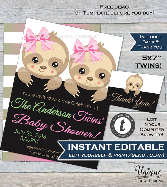 Twin Sloth Baby Shower Invitation, Editable Twins Sloth Baby Shower Invite, Slow Down Baby Girl Girl Printable Template INSTANT DOWNLOAD 5x7