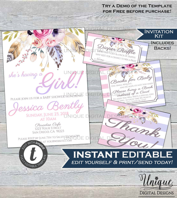 Boho Baby Shower Invitation KIT, Diaper Raffle Books for Baby Insert Thank You, Pastel Boho Flower Girl Baby Shower Invite INSTANT EDITABLE