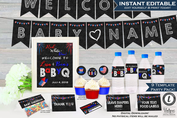 4th of July BabyQ Decoration Party Pack KIT Bundle July Gender Reveal bbq 4th of July Baby Shower Invite 9 Templates Print INSTANT EDITABLE