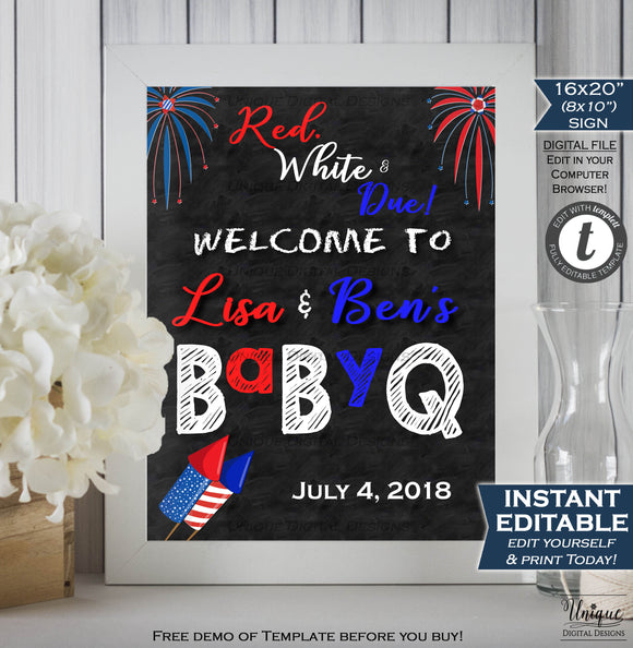 4th of July BaByQ Welcome Sign, Editable Firework Theme Baby Shower Sign, July Firecracker Decoration, Chalkboard Printable INSTANT DOWNLOAD