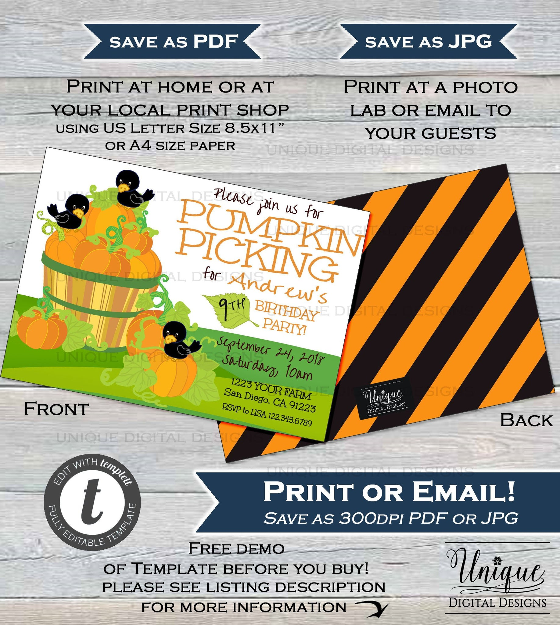 Pumpkin Patch Birthday Party Invitation Editable Picking Fall Invite
