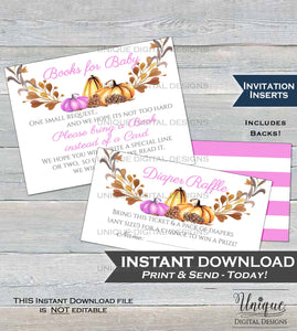 Girls Baby Shower Diaper Raffle Books for Baby Invitation Inserts Fall Invite Insert Little Pumpkin Baby decor Printable INSTANT DOWNLOAD