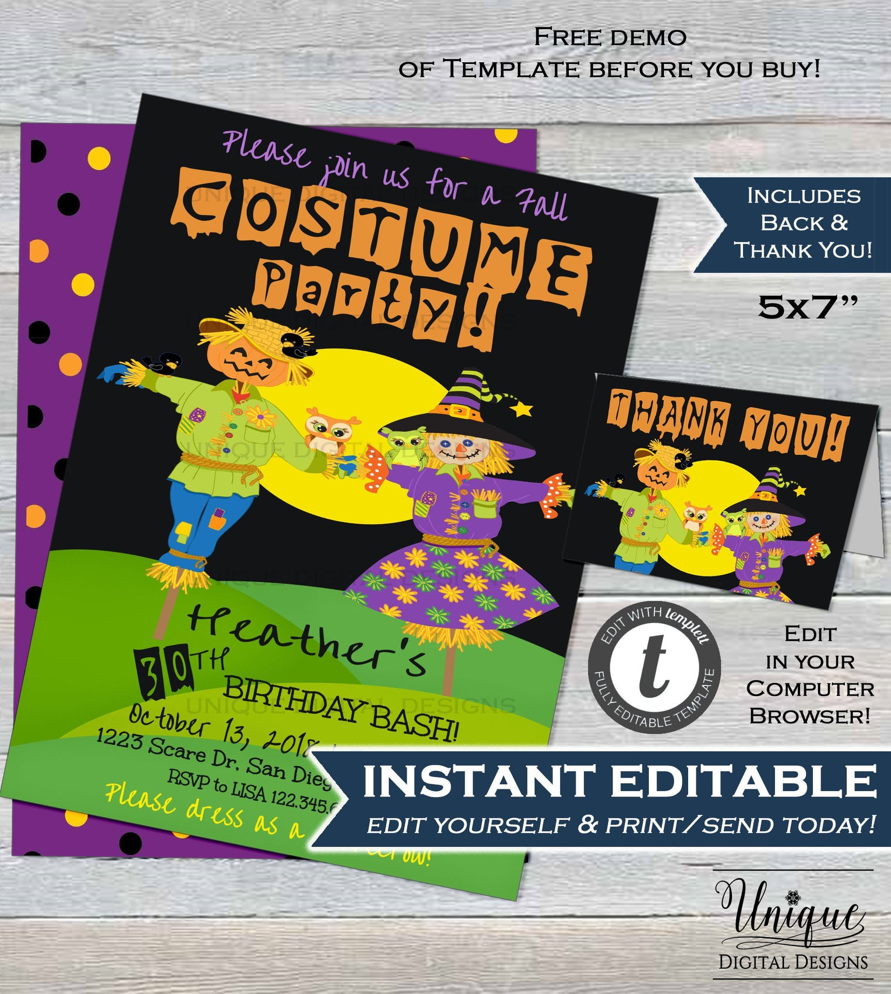 Editable Halloween Costume Party Birthday Invitation 30th Invite ANY Age Scarecrow Fall