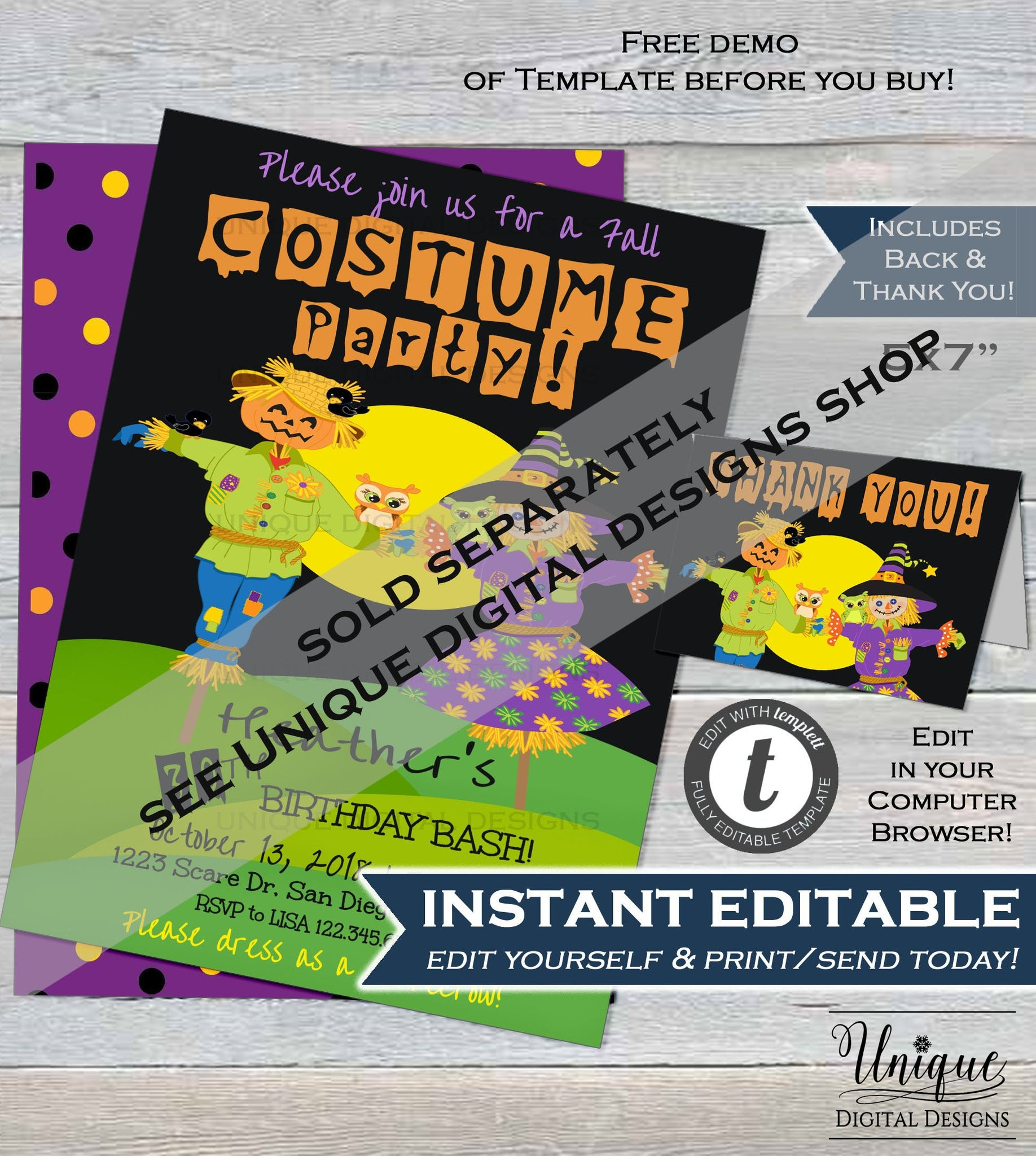 Halloween Costume Party Birthday Invitation Editable 40th Invite ANY Age Scarecrow Fall