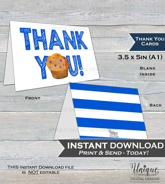 Printable Thank You Card, Stud Muffin Birthday Thank You, Breakfast Muffin Thanks, Folded Card, One Muffin 1st Birthday INSTANT DOWNLOAD A1