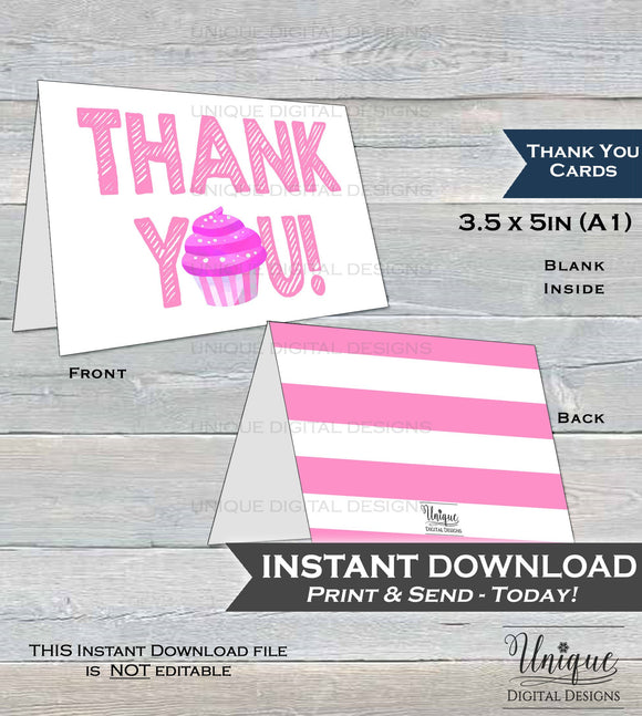 Printable Thank You Card Sweet Cupcake Birthday Thank You Pink Girls Cupcake Thanks, Folded Card, Sprinkles 1st Birthday  A1