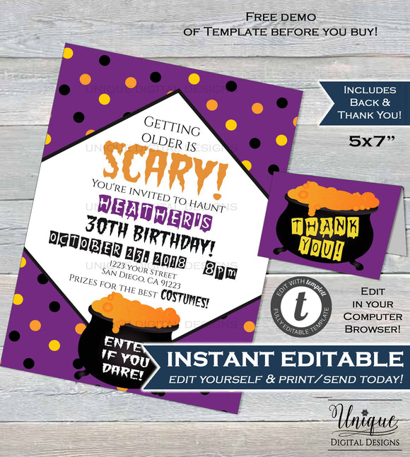 Editable Halloween Invitation, Spooky Halloween Costume Party Invite Getting older is Scary Birthday Printable Template INSTANT DOWNLOAD 5x7