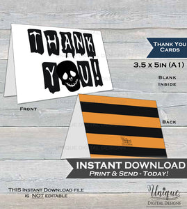 Printable Thank You Card, Halloween Birthday Thank You Spooky Scary Party Thanks Folded Card, Birthday Building Memories INSTANT DOWNLOAD A1