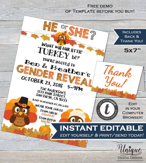 Little Turkey Gender Reveal Invitation, Editable Thanksgiving Baby Shower Sprinkle Fall Baby Invite He or She Printable decor INSTANT ACCESS