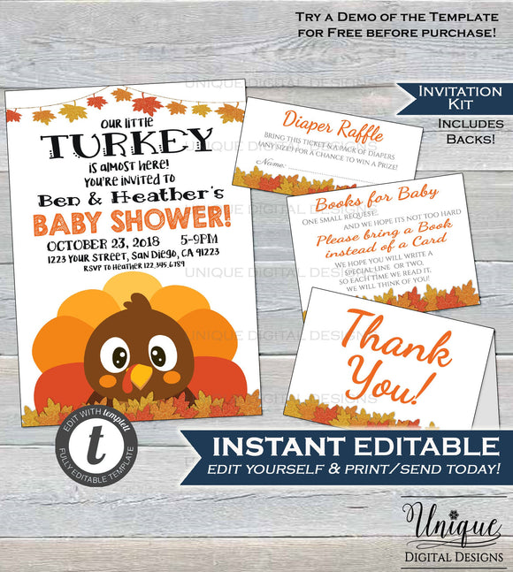 Little Turkey Baby Shower Invitation KIT, Editable Baby Shower Invite, Diaper Raffle Books for Baby Thanksgiving Printable INSTANT DOWNLOAD