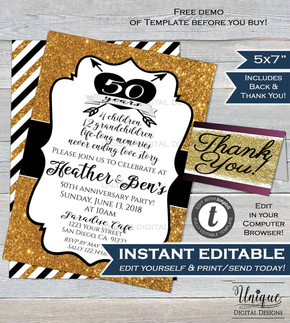 Golden Wedding Invitation 50th Anniversary Fifteth Wedding Invite Golden Anniversary ANY Year Custom Printable Template INSTANT EDITABLE 5x7