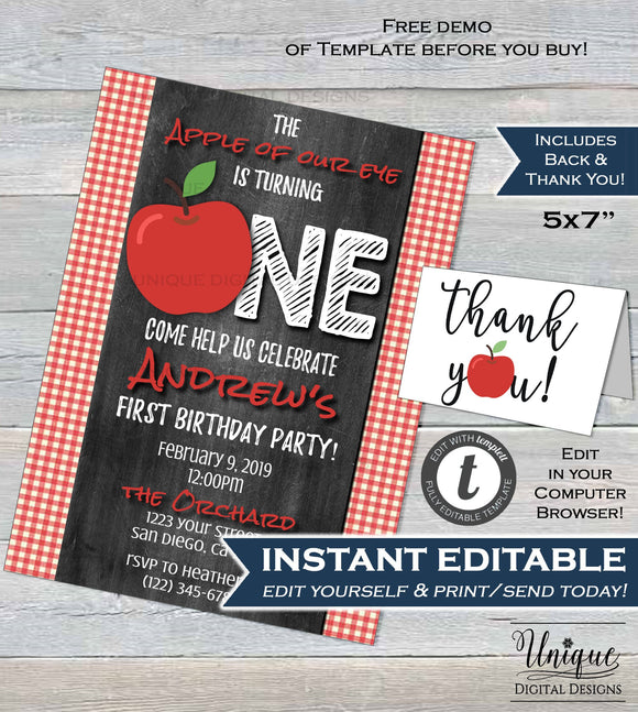 Apple of my eye 1st Birthday Invitation, Editable First Birthday Invite, Apple of Our Eye Chalkboard Printable Template INSTANT DOWNLOAD 5x7