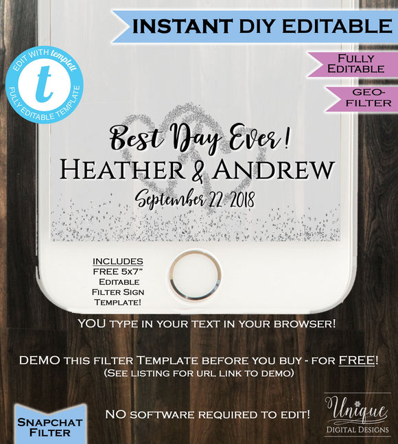 Wedding Snapchat Best Day Ever Snapchat Geofilter Best Day Wedding Party, Wedding filter, Love Silver Glitter Custom INSTANT EDITABLE Filter