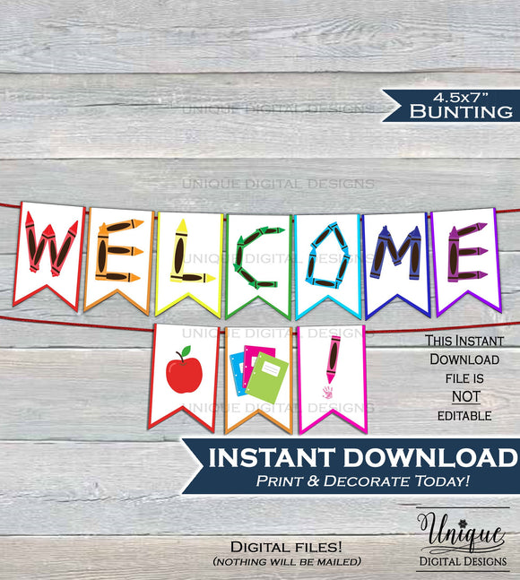Back to School Welcome decoration Teachers classroom Pennant Flags Welcome to the Class Party banner Printable Digital File