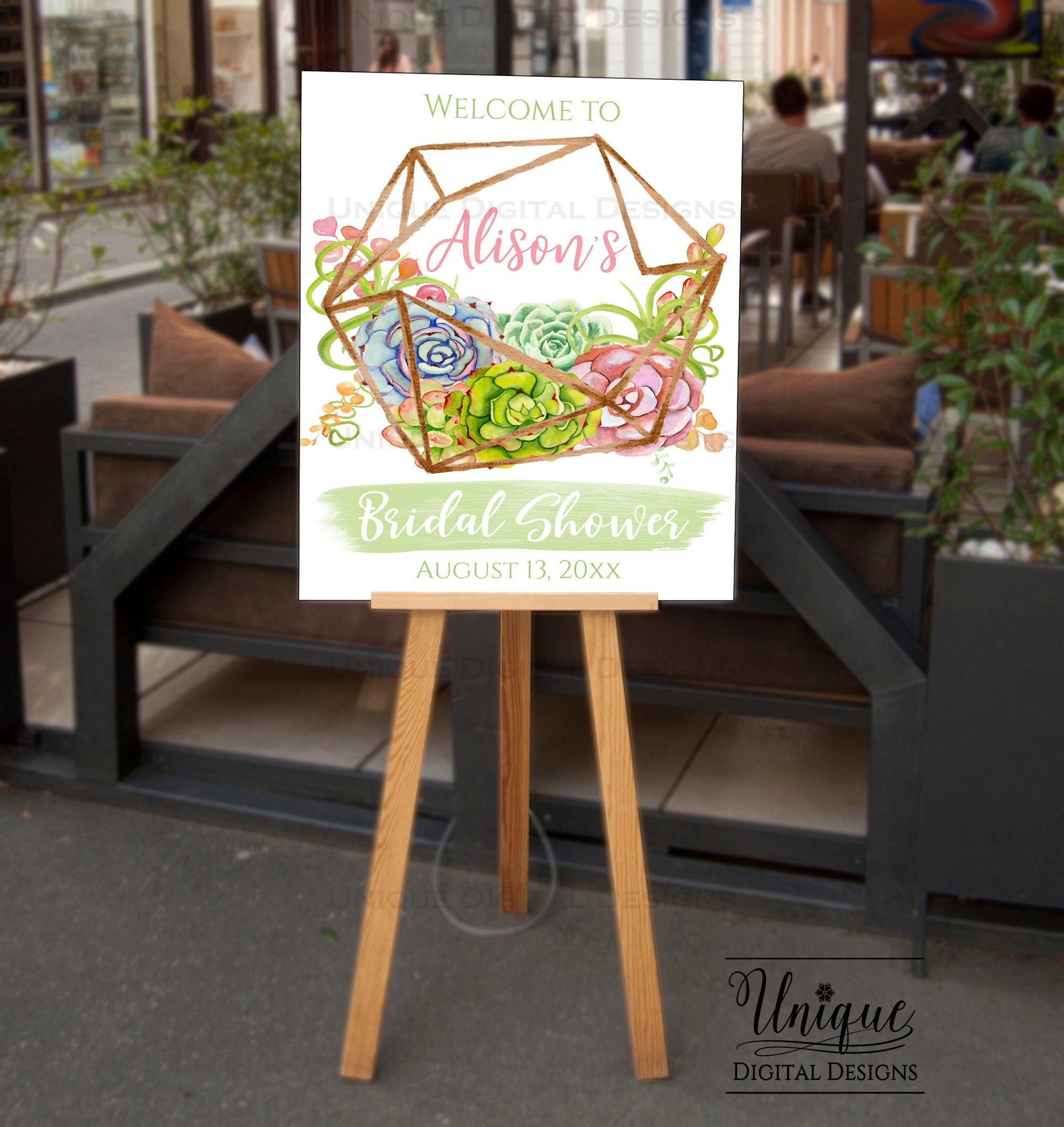bridal shower welcome sign watercolor succulent wedding shower poster boho chic decoration printable