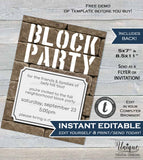 Editable Block Party Invitation, Fall Street Party Invite Neighborhood Backyard BBQ Rustic Printable Wall INSTANT DOWNLOAD 5x7 + Flyer