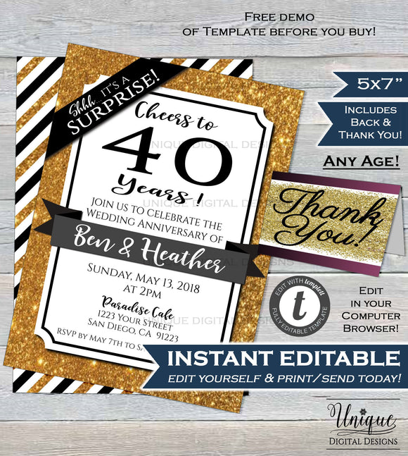 40th Anniversary Invitation Fourtieth Wedding Anniversary Ruby 40 year Surprise Party Invite Custom Printable Template INSTANT EDITABLE 5x7