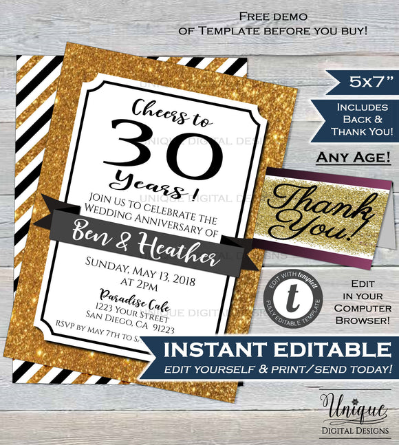 30th Anniversary Invitation Thirtieth Wedding Anniversary Pearl 30 year Surprise Party Invite Custom Printable Template INSTANT EDITABLE 5x7