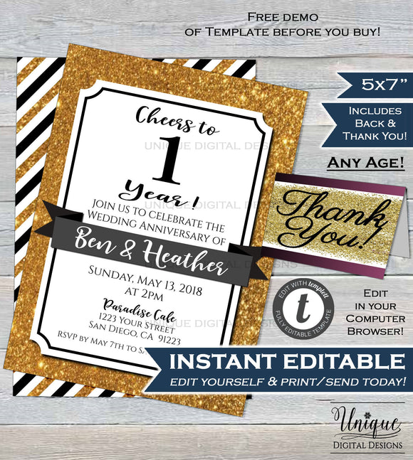 1st Anniversary Invitation First Wedding Anniversary Paper 1 year Surprise Party Invite Custom Printable Template INSTANT EDITABLE 5x7