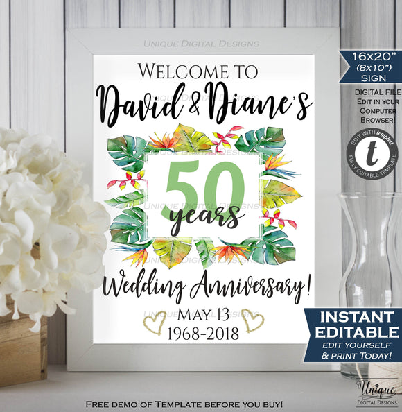 50th Anniversary Welcome Sign ANY Year Wedding Anniversary Sign Decoration Tropical Paradise Printable Template INSTANT EDITABLE 16x20 8x10