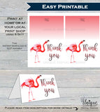 Lets Flamingle Thank You Card, Flamingo Birthday, Pink Flamingo Thank You, Thanks Folded Card, Printable Birthday Party  A1