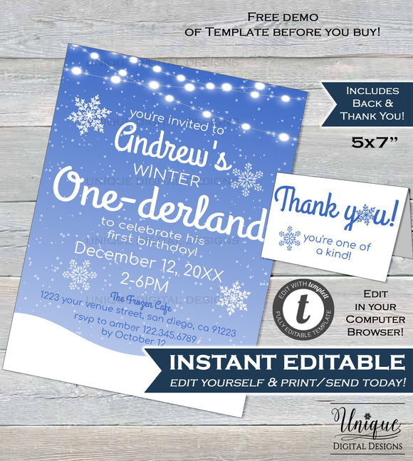 Winter Onederland Invitation Editable Winter Onederland Boy Birthday Party Winter Birthday Snowflake Printable Template INSTANT DOWNLOAD 5x7