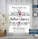 Wedding Welcome Sign Personalized Floral Wedding Poster Watercolor Peonies Table Decoration Printable Template INSTANT EDITABLE 16x20 8x10