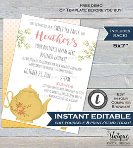 Sweet Tea Party Invitations, Editable RF Business Launch Invite, Rodan MLM tool bbl Tea and Coffee Printable Template INSTANT Download 5x7