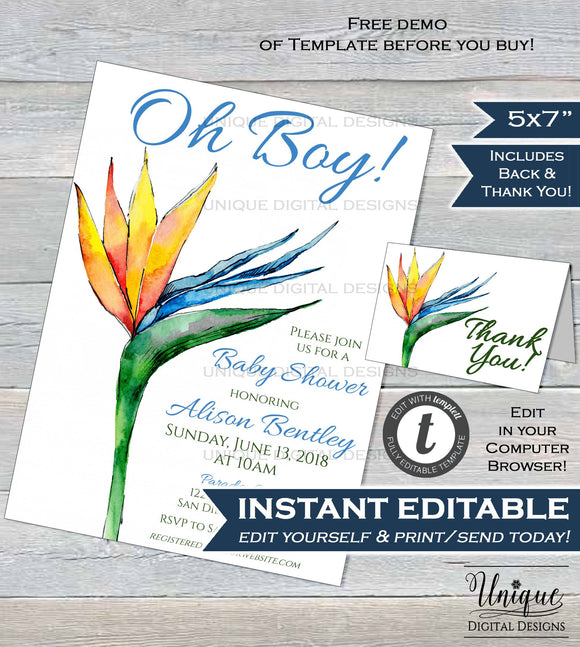 Bird of Paradise Invitation Flower Watercolor Baby Shower Invite Oh Baby Boy Baby Shower DIY Custom Printable Template INSTANT EDITABLE 5x7