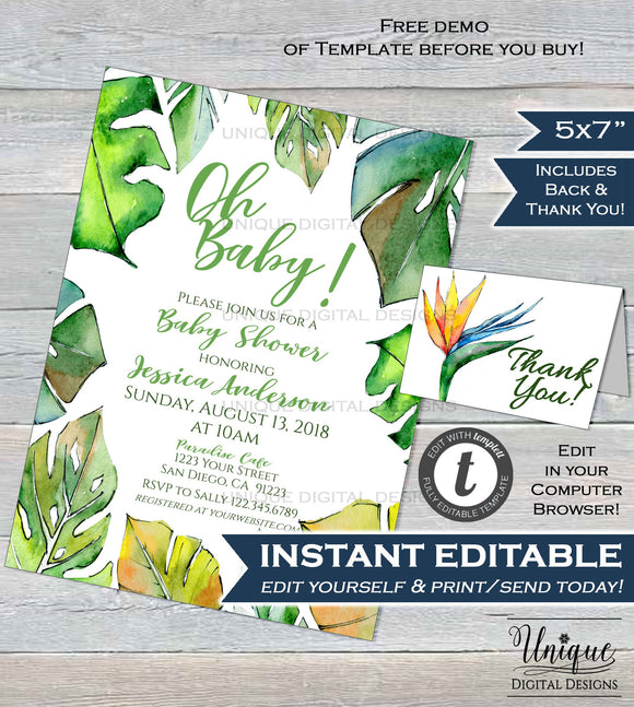 Tropical Gender Neutral Baby Shower Invitation Fern Watercolor Invite Oh Baby Girl Boy Baby Shower Printable Template INSTANT EDITABLE 5x7