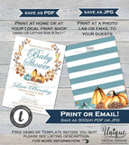Pumpkin Baby Shower Decorations KIT, Invitation Inserts Diaper, Editable Little Pumpkin Baby Boy Party Pack, Print Template INSTANT DOWNLOAD