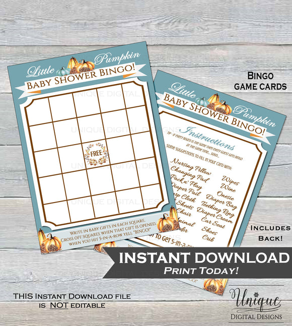 Baby Shower Bingo, Little Pumpkin Baby Shower Games, Bingo Printable, Baby Shower Game Board Baby, Blank Fill In Custom INSTANT DOWNLOAD 5x7