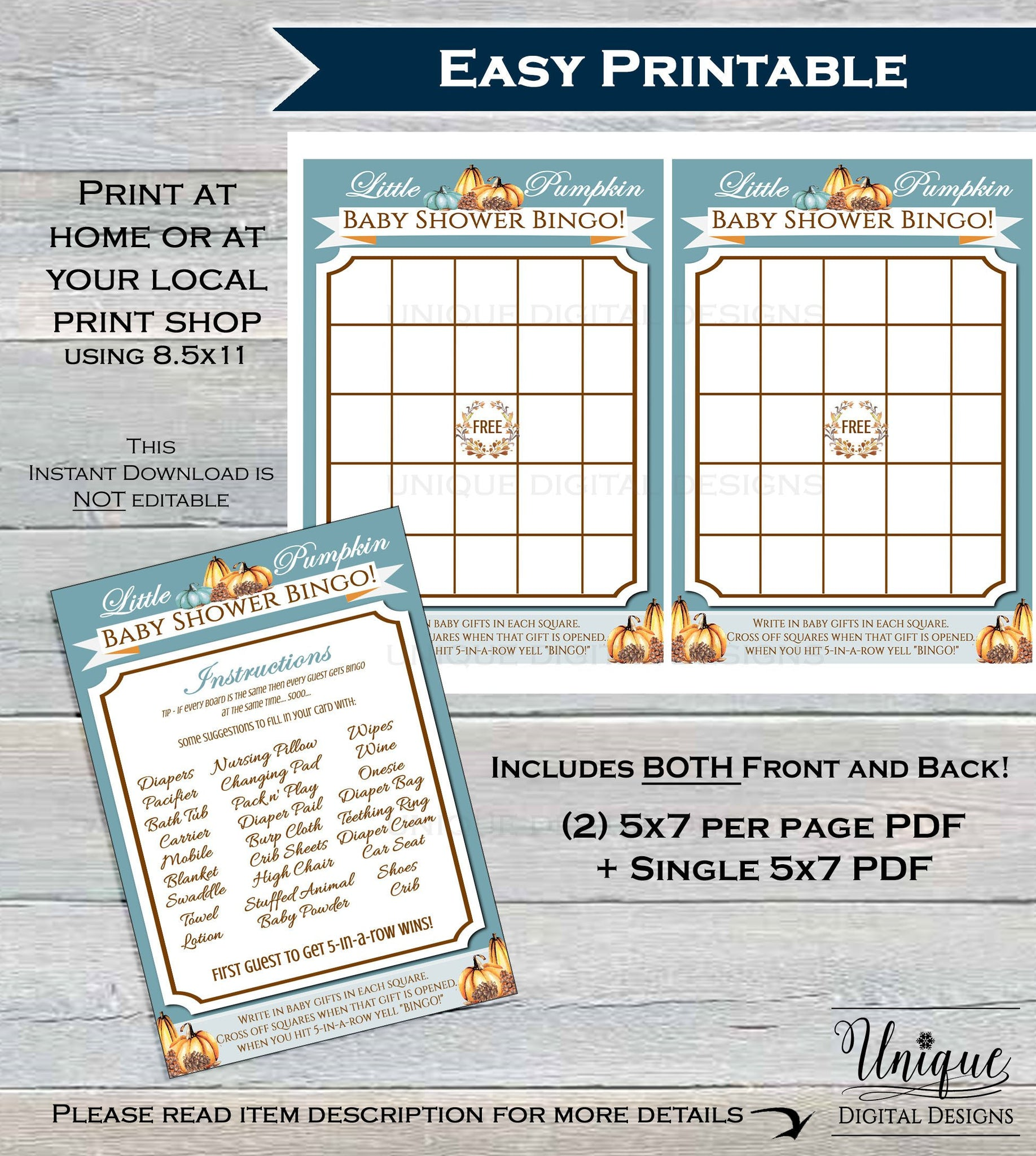image about Printable Baby Shower Bingo identified as Little one Shower Bingo, Very little Pumpkin Kid Shower Online games, Bingo Printable, Kid Shower Recreation Board Little one, Blank Fill In just Customized Quick Down load 5x7