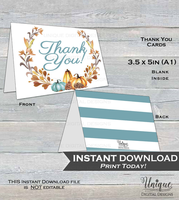 Pumpkin Thank You Card, Baby Shower Thank You, Fall Pumpkin Thank You, Thanks Folded Card, Printable Birthday Party  A1