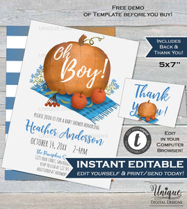 Oh Boy Pumpkin Baby Shower Invitation, Editable Rustic Pumpkin Invite Baby Fall Harvest Theme Custom Printable Template INSTANT DOWNLOAD 5x7