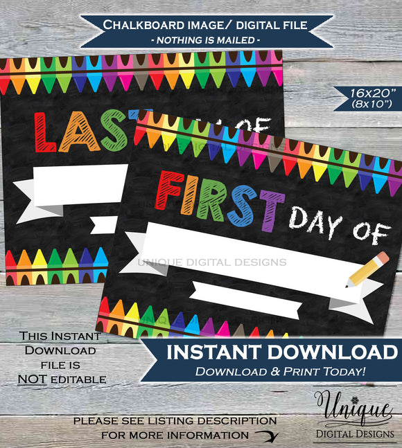 Blank First day of School Chalkboard Sign, Resuable Last day of School Sign, ANY Grade 1st day Crayon diy Digital Printable INSTANT DOWNLOAD