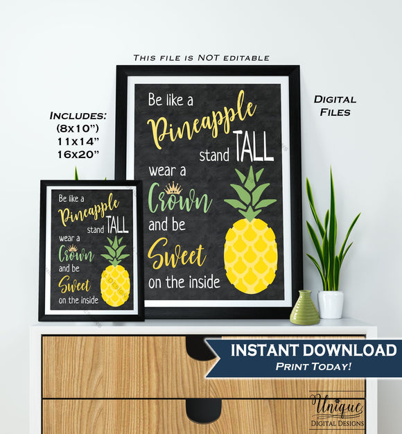 Be like a Pineapple Sign Pineapple Quote Office Motivational Decor Inspirational Class Poster Digital Printable INSTANT DOWNLOAD 16x20 11x14