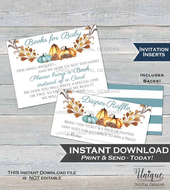 Diaper Raffle + Books for Baby Invitation Inserts Fall Baby Shower Invite Insert Little Pumpkin Baby Shower decor Printable