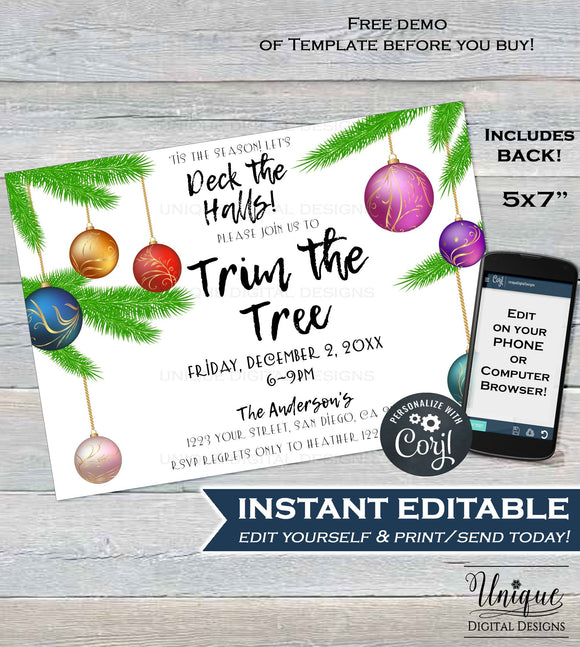 Deck the Halls Christmas Party Invitation, Editable Trim the Tree Holiday Party Invite Decoration Gift Printable Custom INSTANT DOWNLOAD 5x7