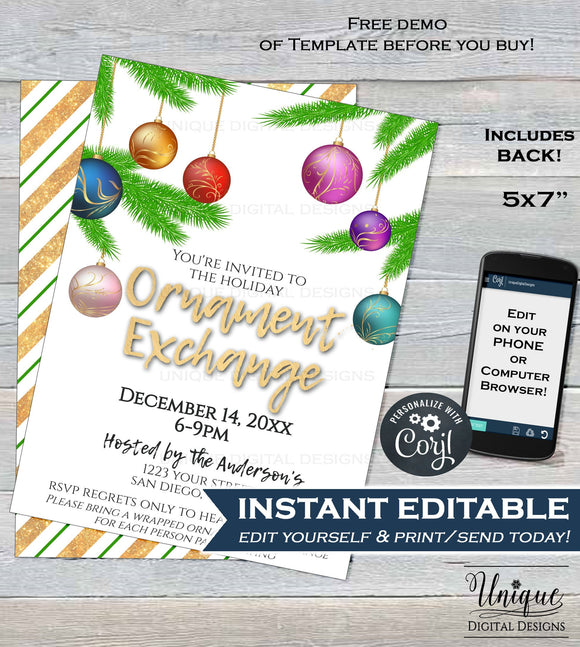 Ornament Exchange Invitation, Editable Christmas Ornament Party Invite, Holiday Party Decoration Gift Printable Custom INSTANT DOWNLOAD 5x7
