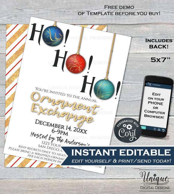 Christmas Ornament Exchange Invitation, Ho Ho Ho Editable Ornament Swap Invite, Holiday Party Decoration Gift Printable
