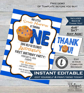Stud Muffin Birthday Invitation Editable First Birthday Invite One Muffin 1st Birthday Template Custom Printable INSTANT DOWNLOAD 5x7 & 4x6