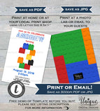 Block Party Invitation, Editable Boys Block Party Birthday Invite, Building Birthday Piece, ANY Age, Printable Template INSTANT DOWNLOAD 5x7