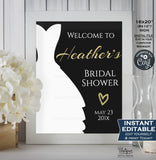 Bridal Shower Welcome Sign, Black Gold Wedding Sign, Bridal Shower Poster, Glitter Decoration Printable Template INSTANT EDITABLE 16x20 8x10