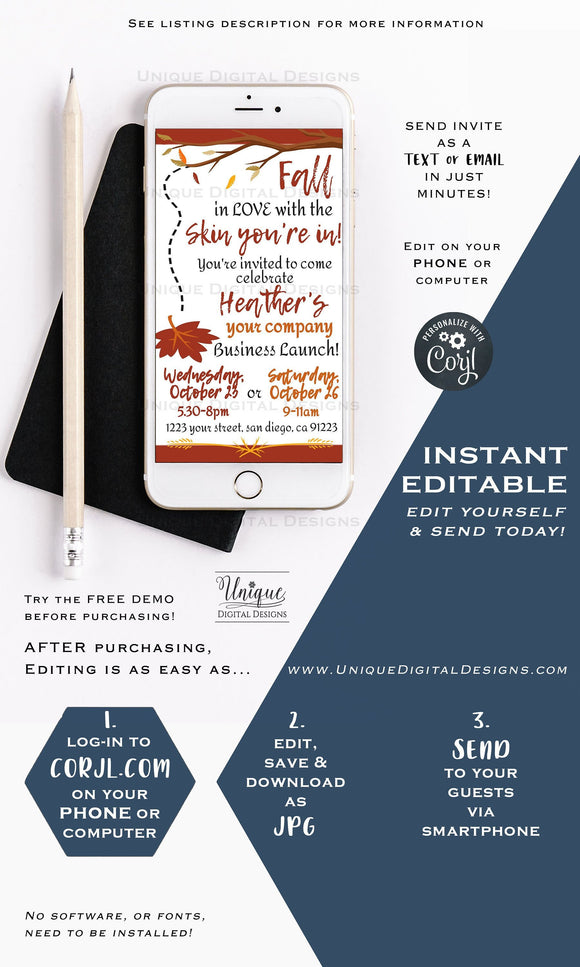 Fall in Love with the Skin you're in bbl Editable RF Business Launch Invite Electronic Invite Digital Smartphone Invitation INSTANT DOWNLOAD