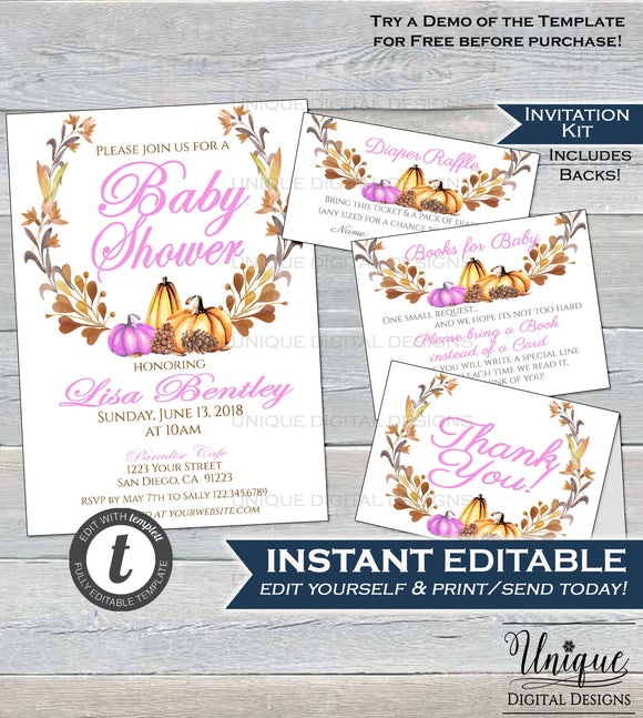 Editable Fall Pumpkin Baby Shower Invitation KIT Rustic Pumpkin Invite Diaper Raffle Books for Baby Girl Harvest Printable INSTANT DOWNLOAD